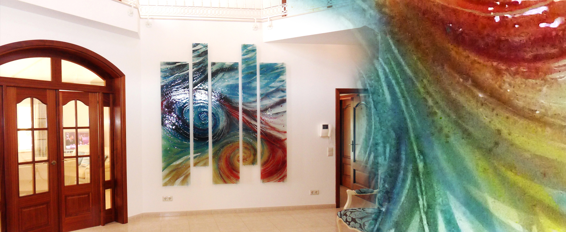 Multi colour spiral wall panel