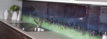 Bespoke purple and green Cityscape splashback
